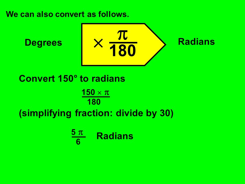   180 Radians Degrees Convert 150° to radians