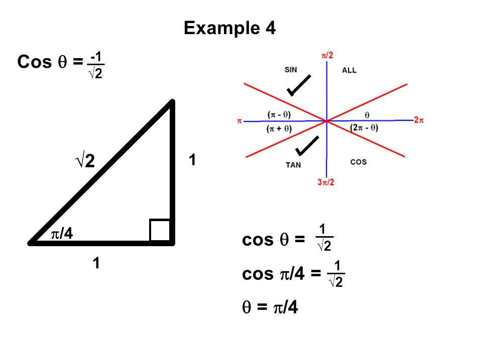 Example 4 Cos  = √2 cos  = cos /4 =  = /4 1 p/4 1 -1 √2 1 √2 1 √2