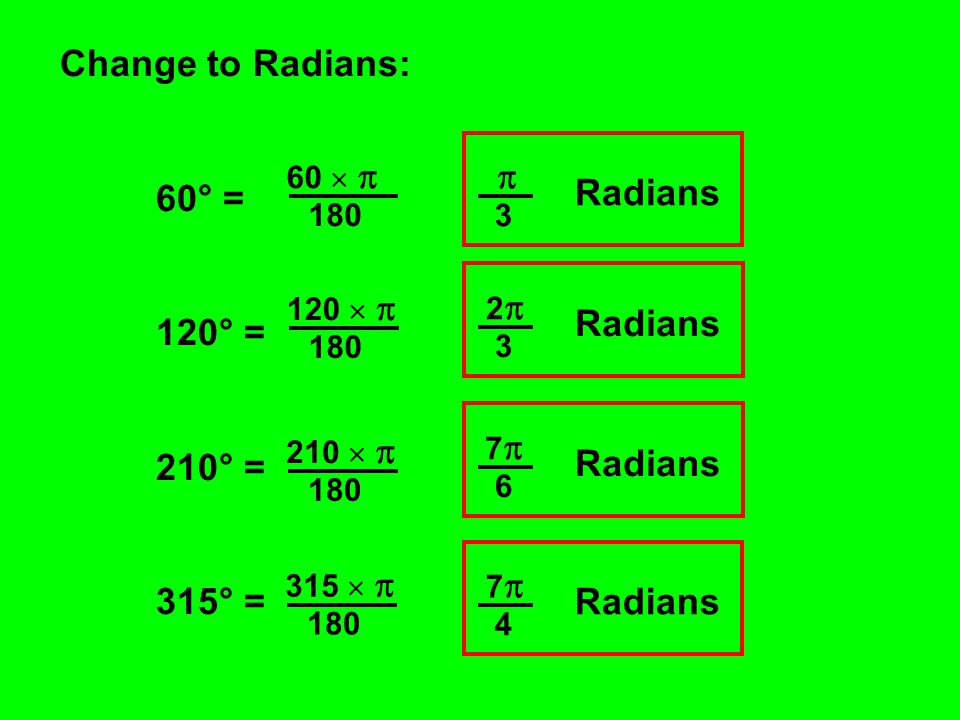 Change to Radians: 60° =  120° = Radians 210° = 2 315° = Radians