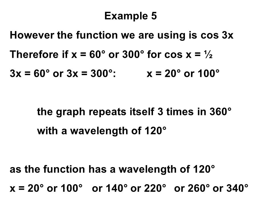 However the function we are using is cos 3x