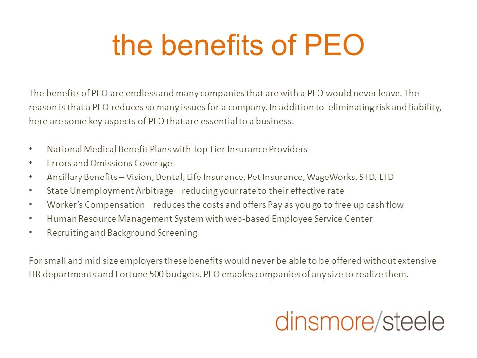 the benefits of PEO
