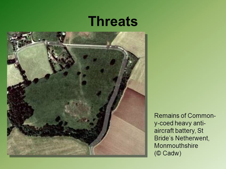 Threats Remains of Common-y-coed heavy anti-aircraft battery, St Bride's Netherwent, Monmouthshire (© Cadw)