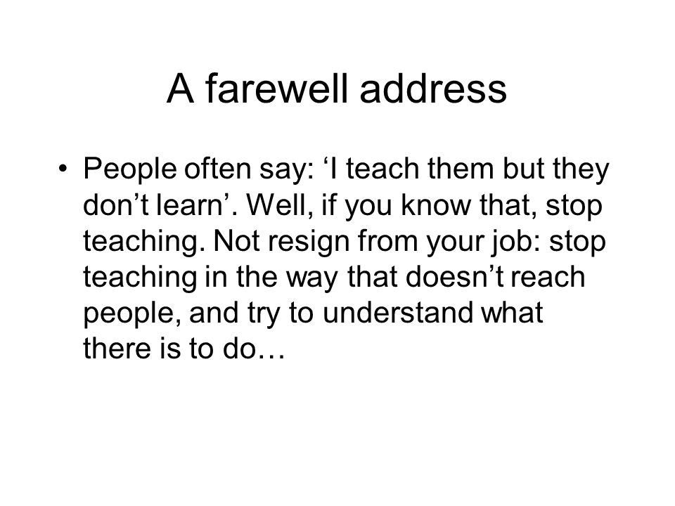 A farewell address