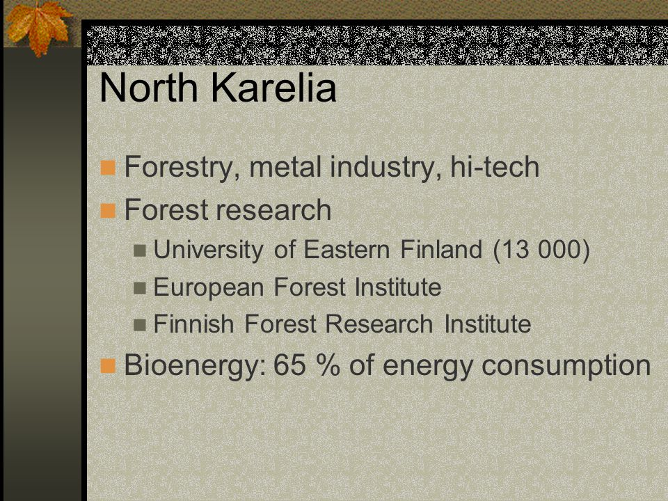 North Karelia Forestry, metal industry, hi-tech Forest research