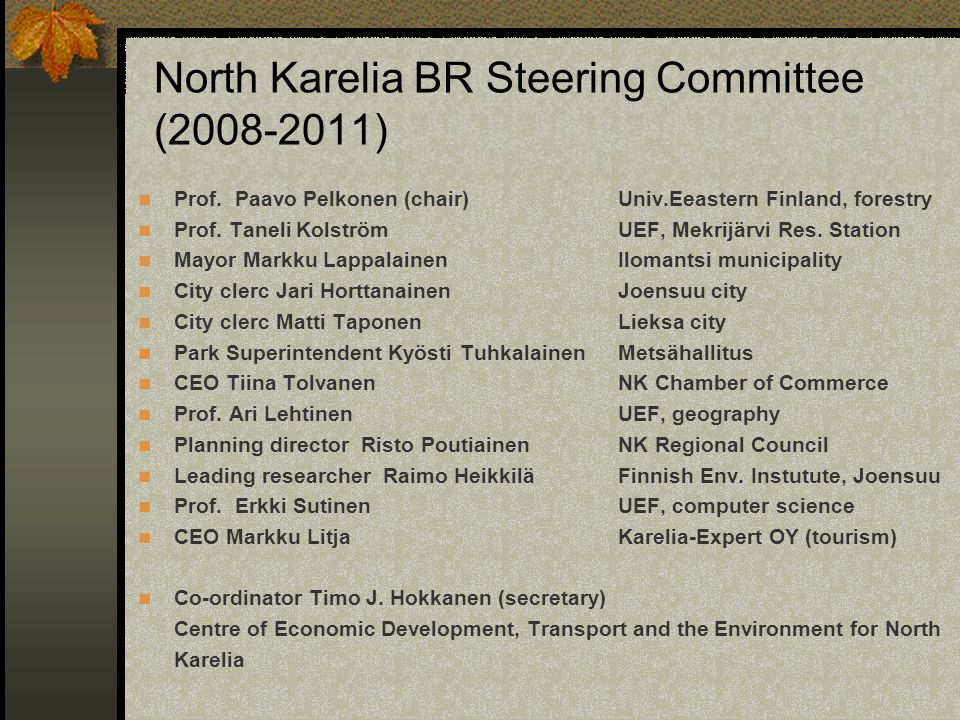 North Karelia BR Steering Committee (2008-2011)