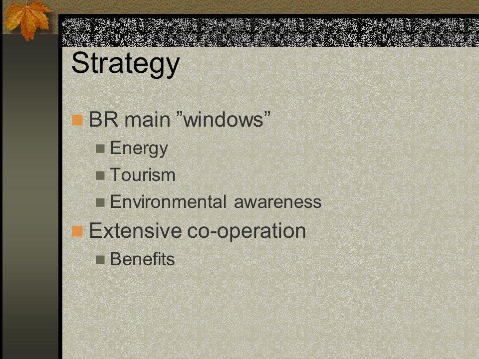 Strategy BR main windows Extensive co-operation Energy Tourism