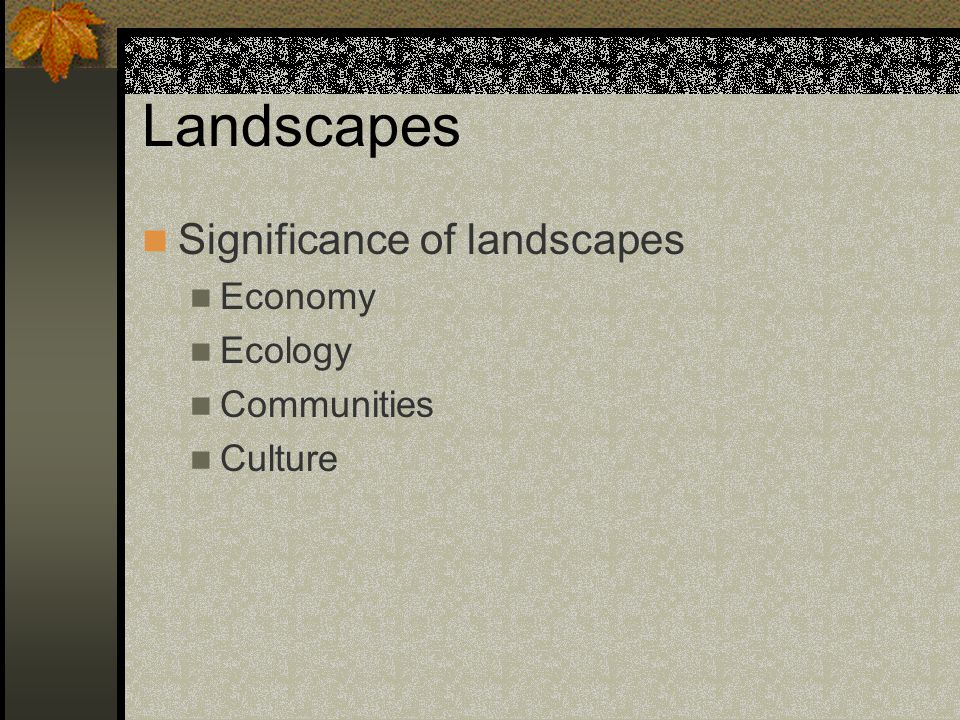 Landscapes Significance of landscapes Economy Ecology Communities