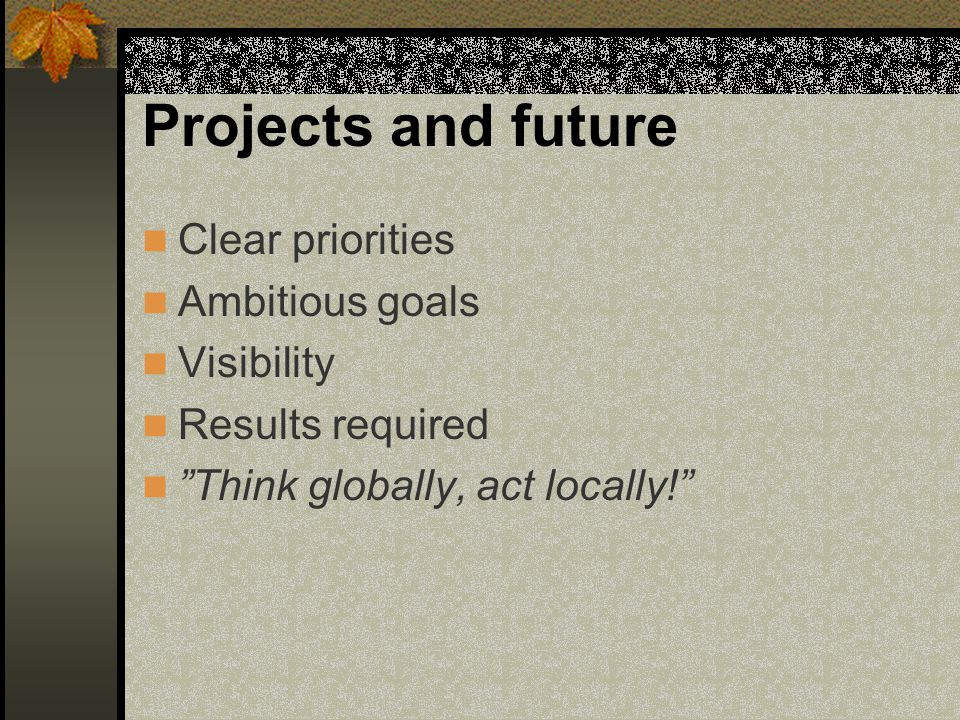 Projects and future Clear priorities Ambitious goals Visibility
