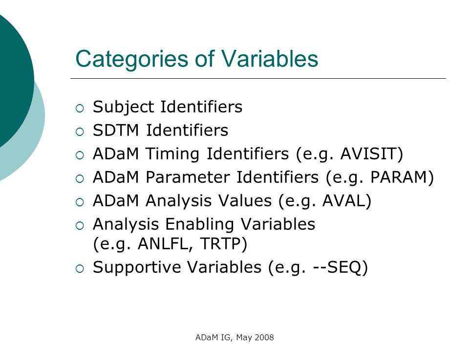 Categories of Variables