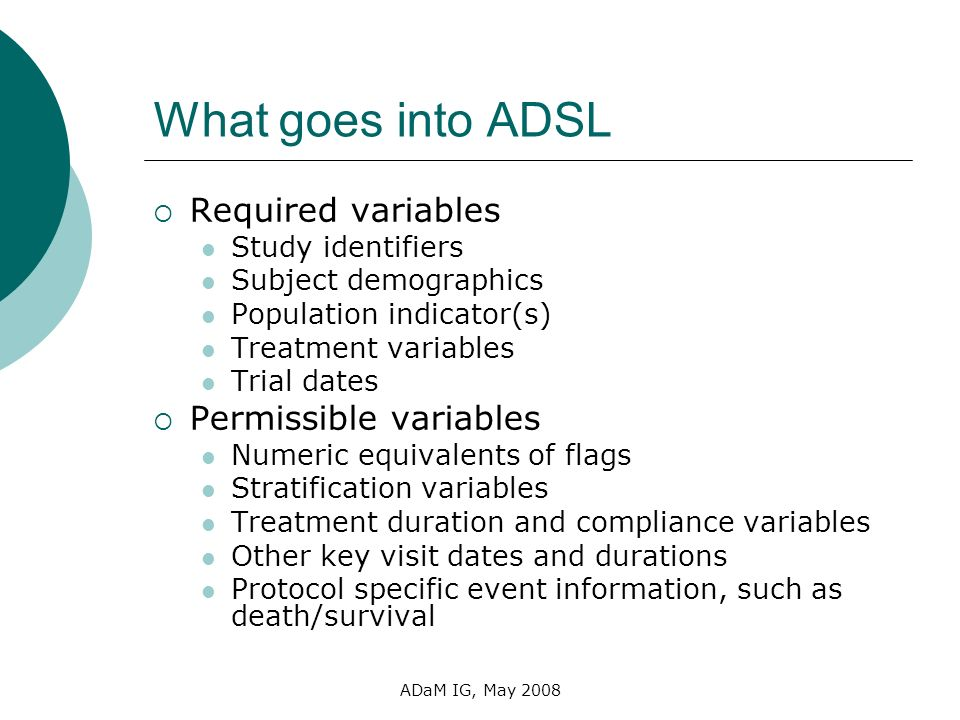 What goes into ADSL Required variables Permissible variables