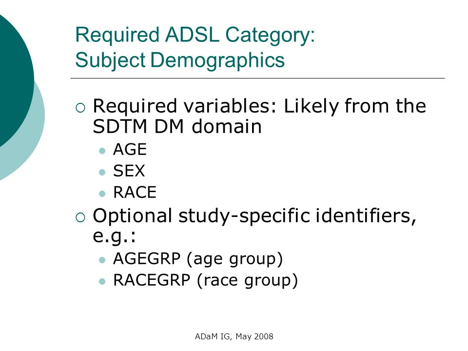 Required ADSL Category: Subject Demographics