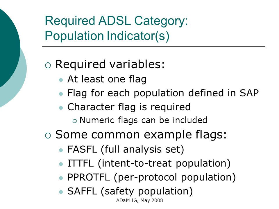 Required ADSL Category: Population Indicator(s)