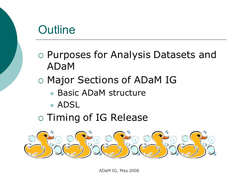 Outline Purposes for Analysis Datasets and ADaM