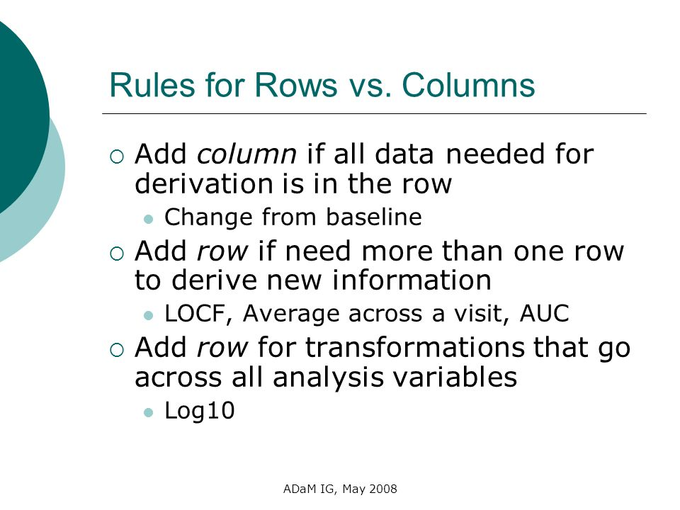 Rules for Rows vs. Columns