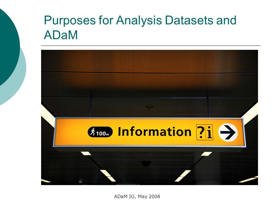 Purposes for Analysis Datasets and ADaM