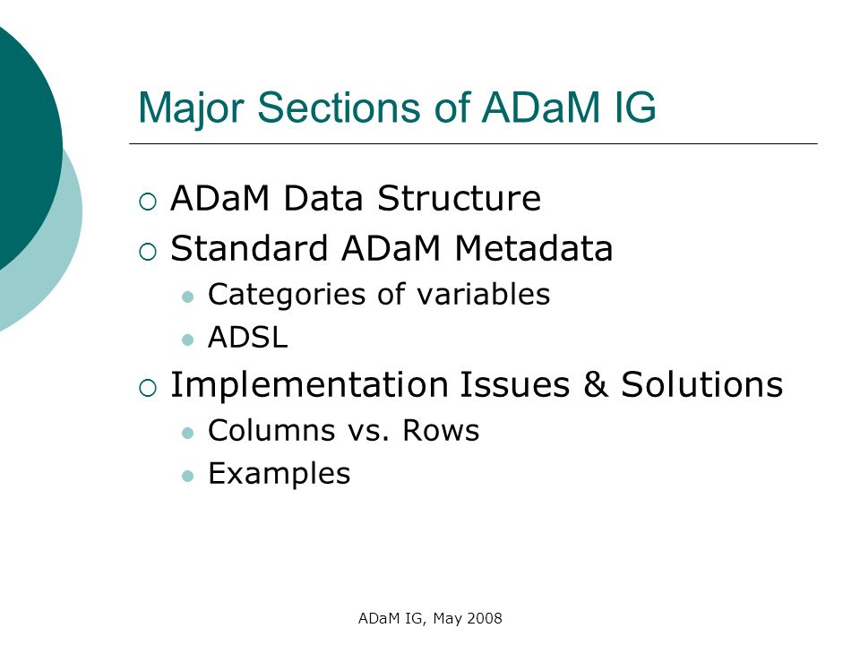 Major Sections of ADaM IG