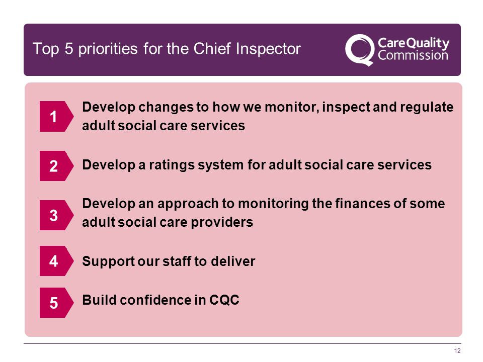Top 5 priorities for the Chief Inspector