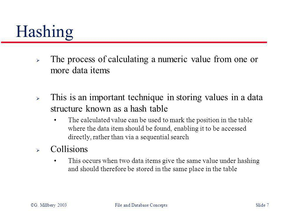 Hashing The process of calculating a numeric value from one or more data items.