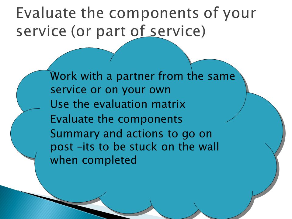 Evaluate the components of your service (or part of service)