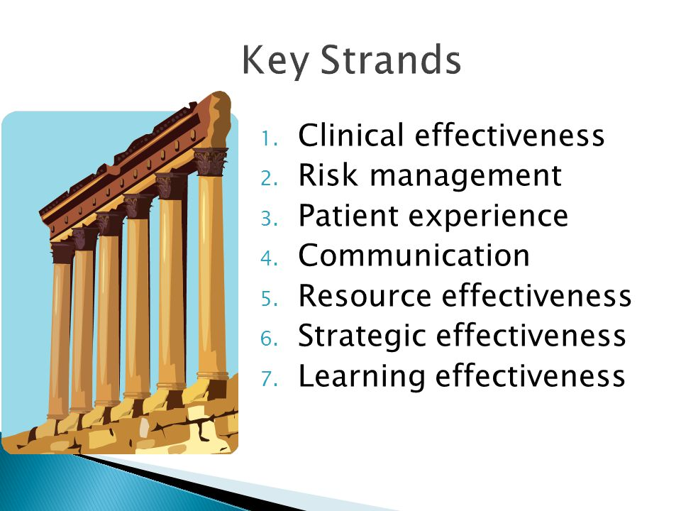 Key Strands Clinical effectiveness Risk management Patient experience