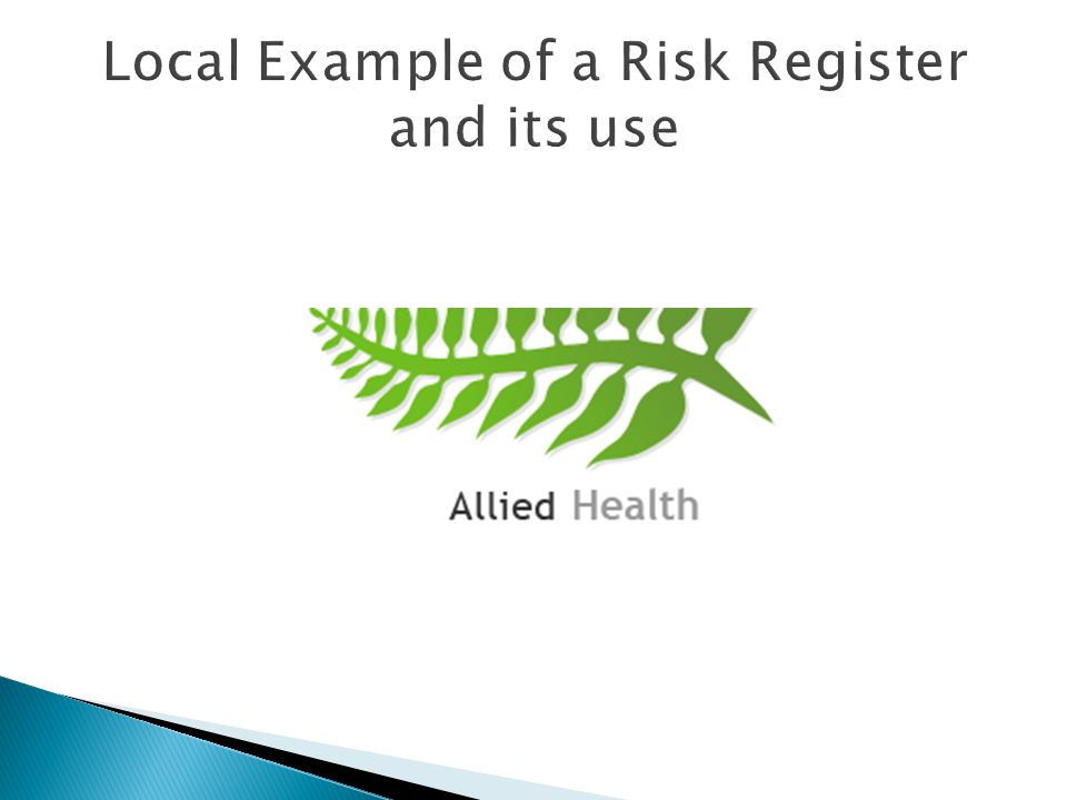 Local Example of a Risk Register and its use