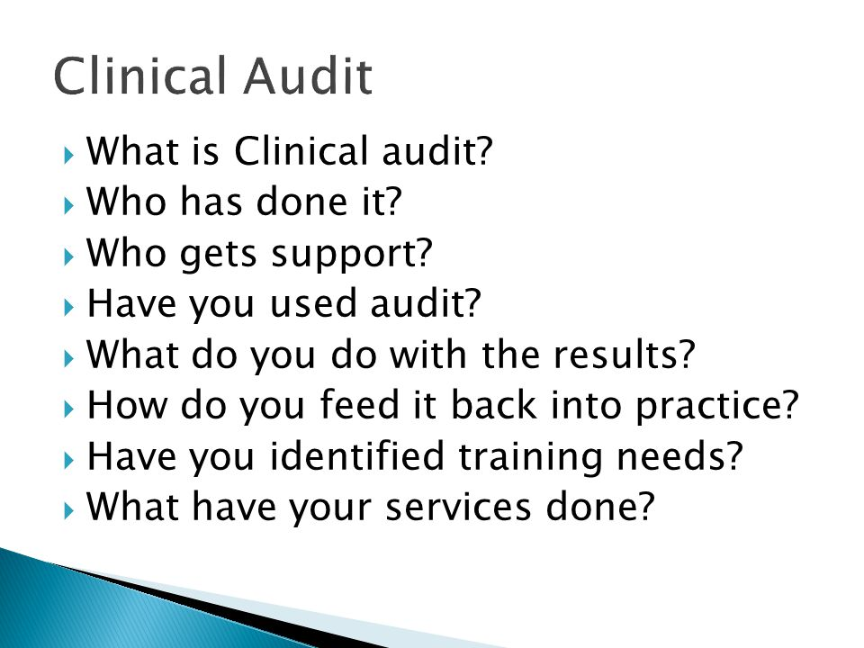 Clinical Audit What is Clinical audit Who has done it