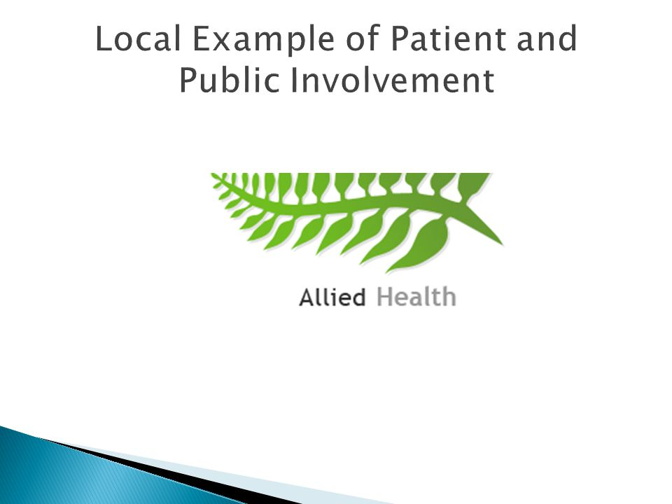 Local Example of Patient and Public Involvement