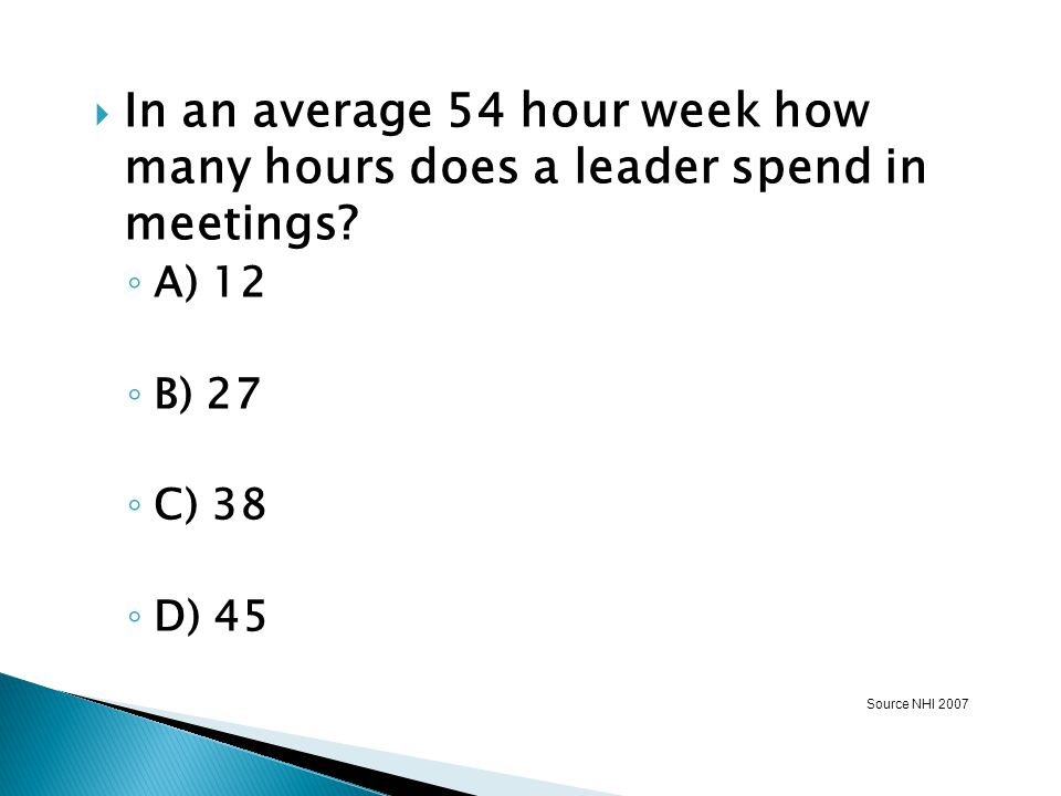 In an average 54 hour week how many hours does a leader spend in meetings