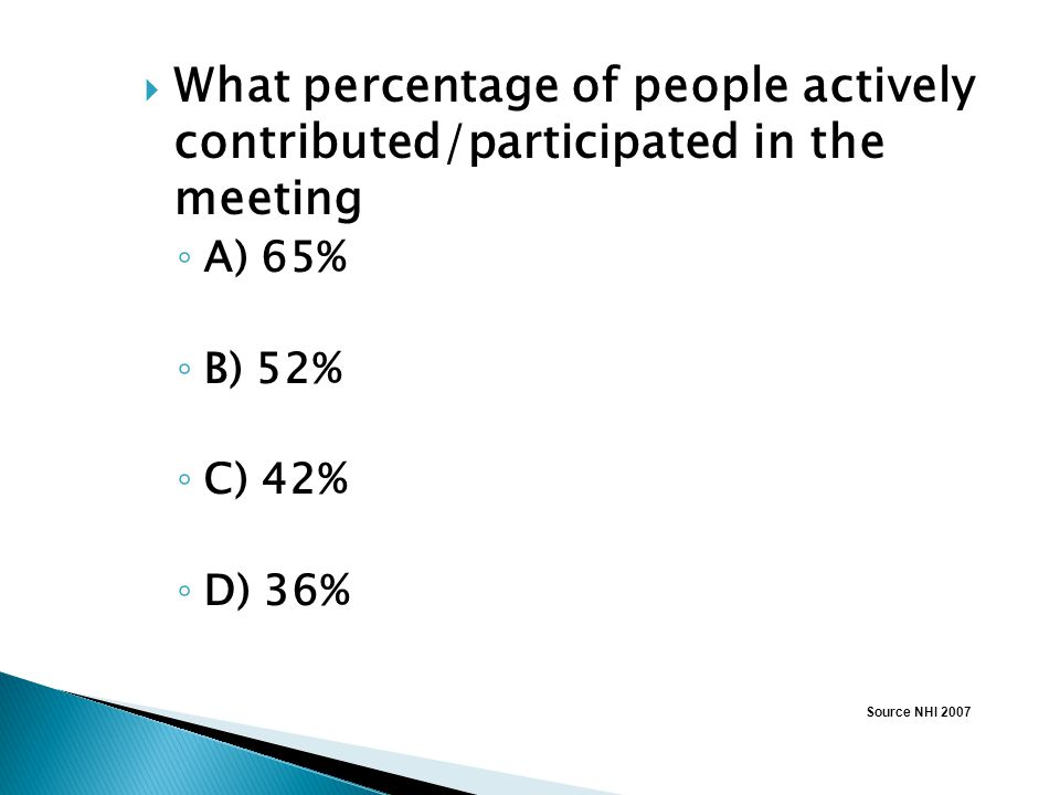 What percentage of people actively contributed/participated in the meeting