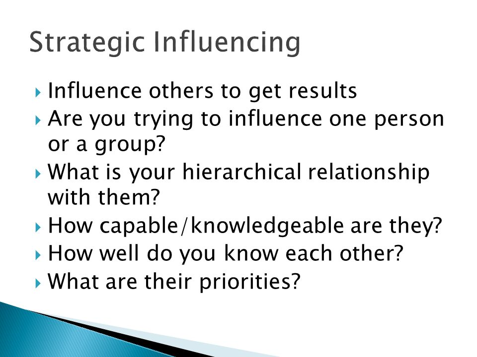 Strategic Influencing