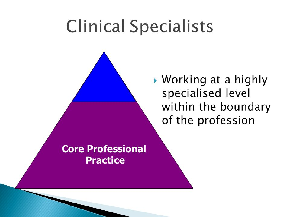 Clinical Specialists Working at a highly specialised level within the boundary of the profession.