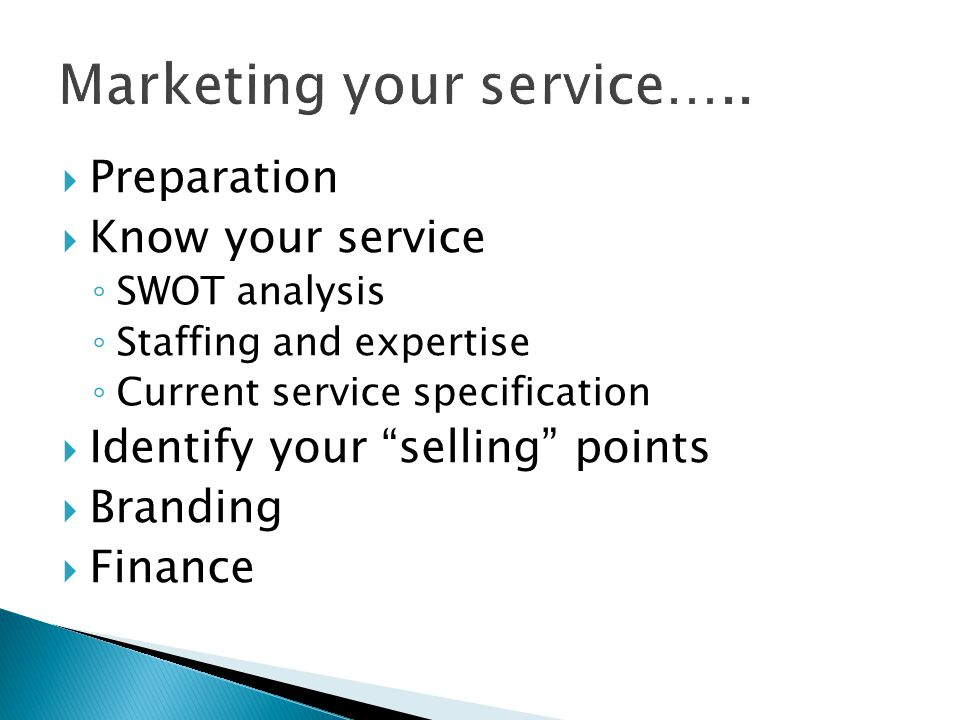 Marketing your service…..