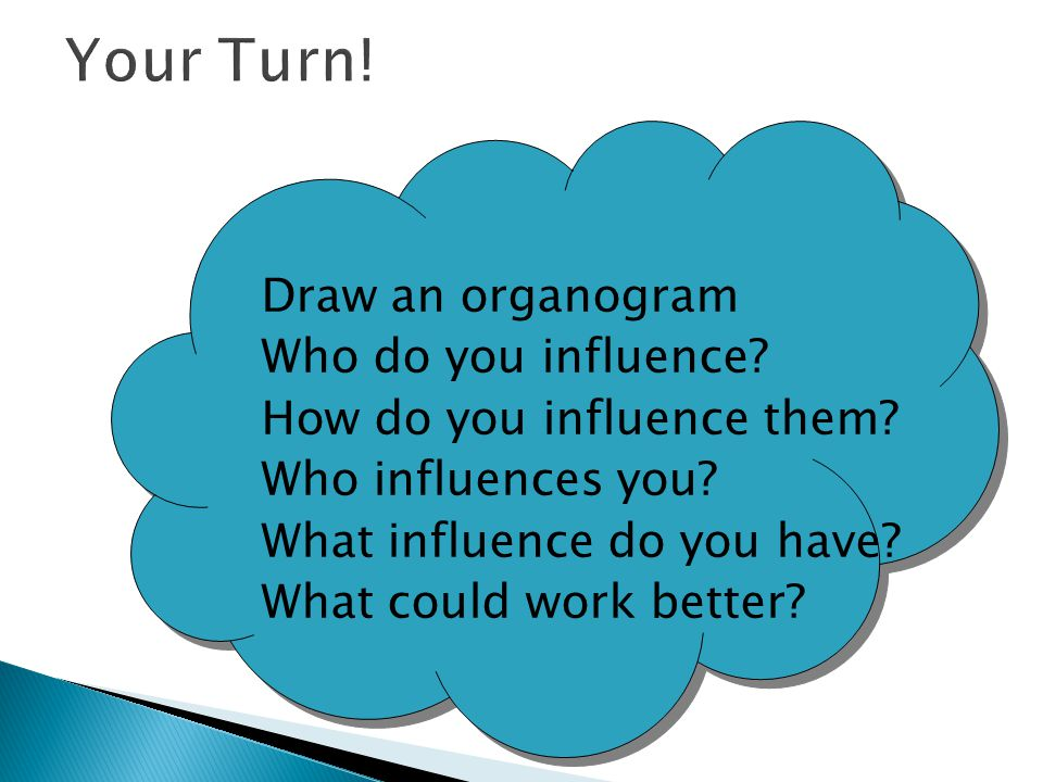 Your Turn! Draw an organogram Who do you influence
