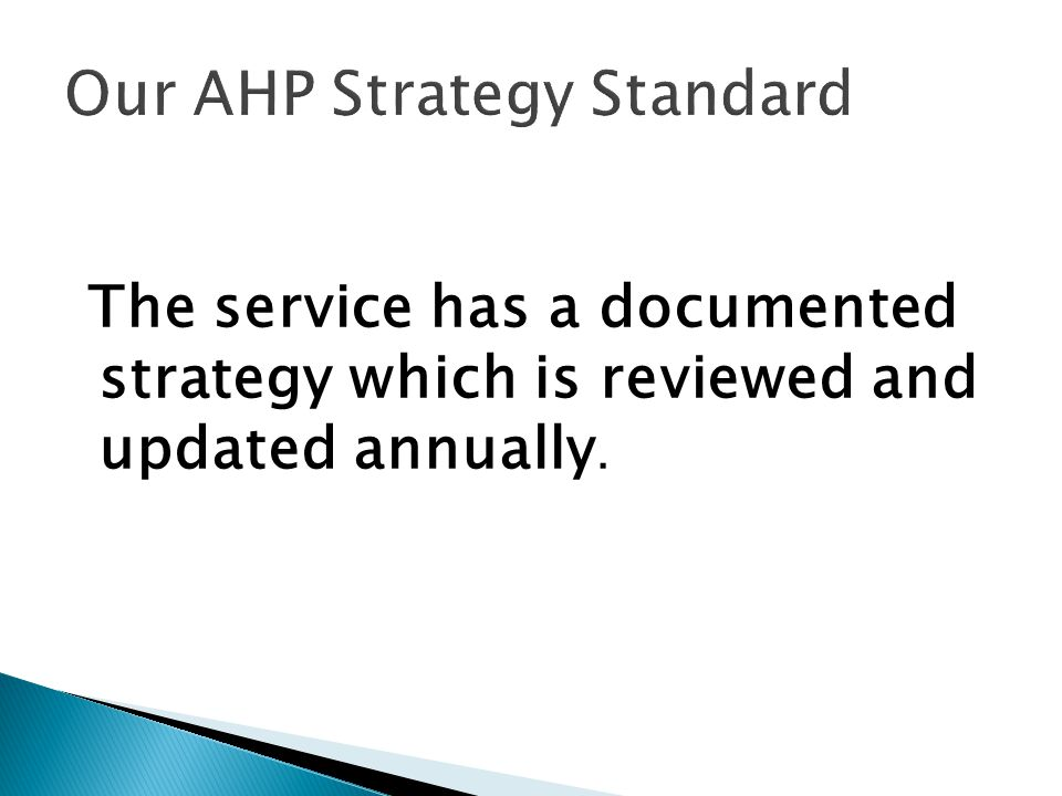Our AHP Strategy Standard