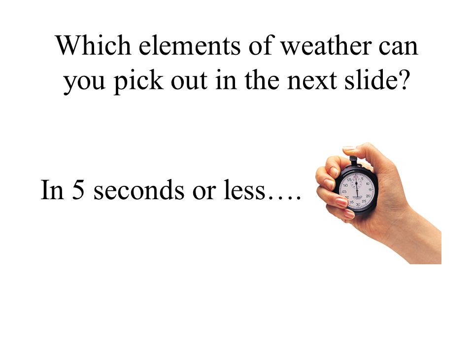 Which elements of weather can you pick out in the next slide