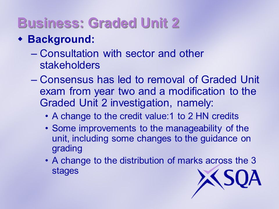 Business: Graded Unit 2 Background: