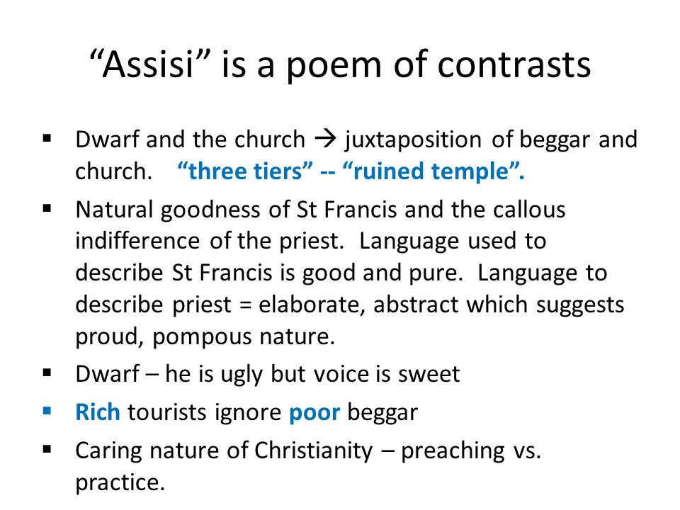 Assisi is a poem of contrasts
