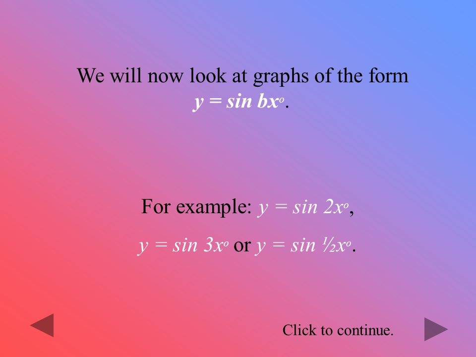 We will now look at graphs of the form y = sin bxo.