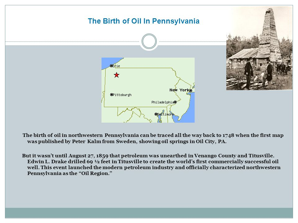 The Birth of Oil In Pennsylvania