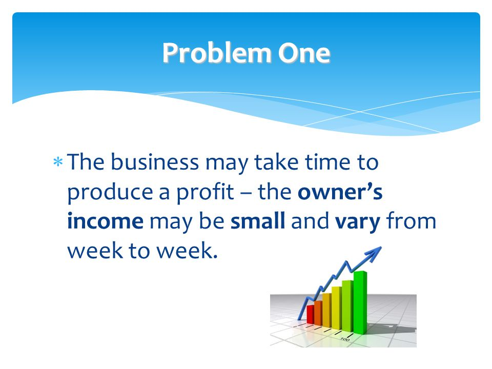 Problem One The business may take time to produce a profit – the owner's income may be small and vary from week to week.