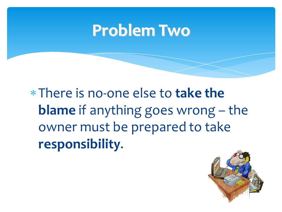Problem Two There is no-one else to take the blame if anything goes wrong – the owner must be prepared to take responsibility.