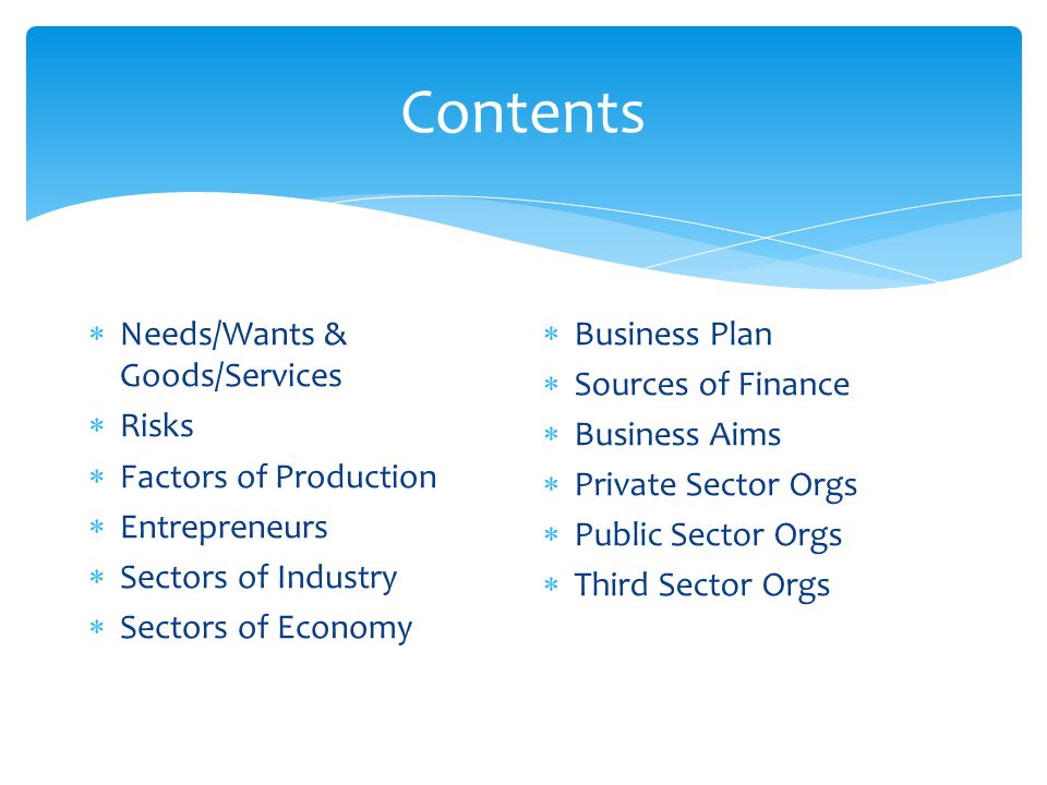 Contents Needs/Wants & Goods/Services Risks Factors of Production