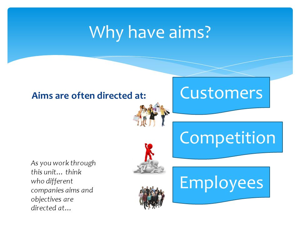 Why have aims Customers Competition Employees