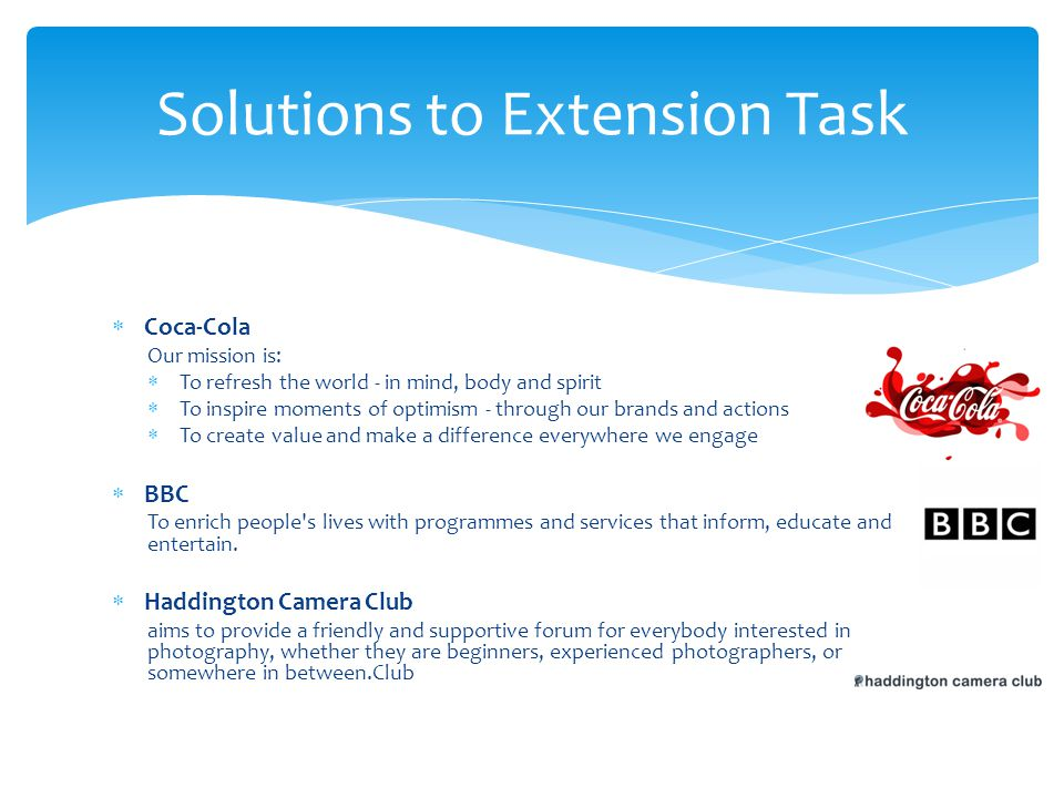 Solutions to Extension Task