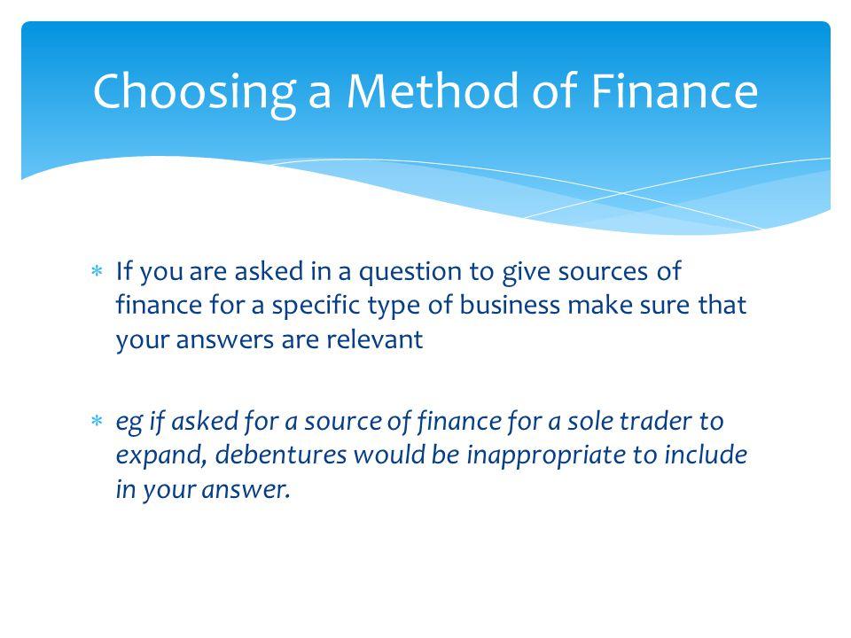 Choosing a Method of Finance