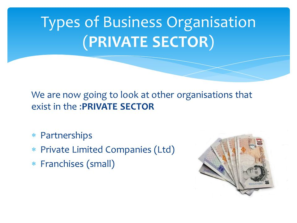 Types of Business Organisation (PRIVATE SECTOR)