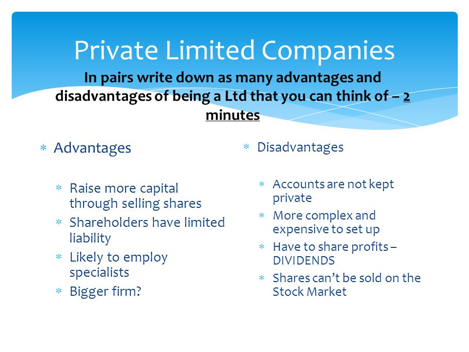 private limited company advantages and disadvantages pdf