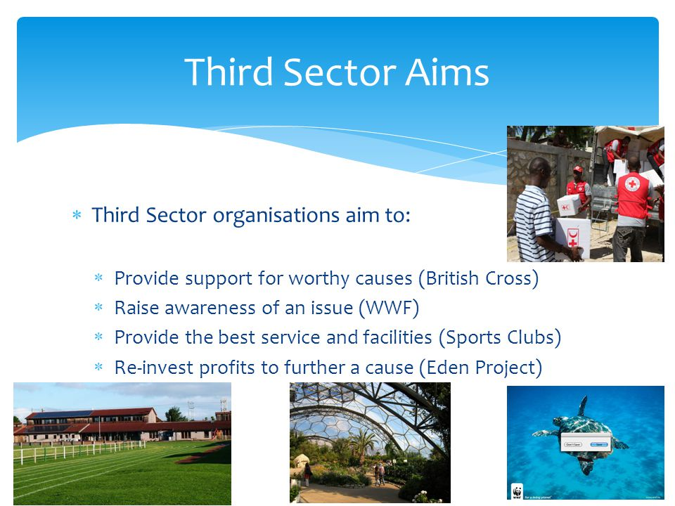 Third Sector Aims Third Sector organisations aim to: