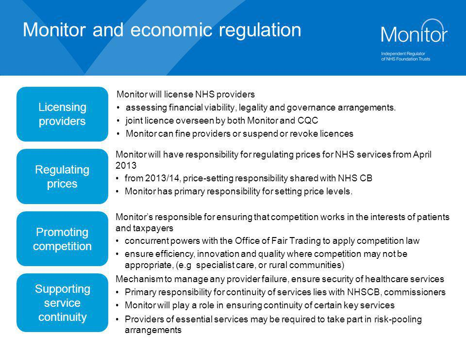 Monitor and economic regulation