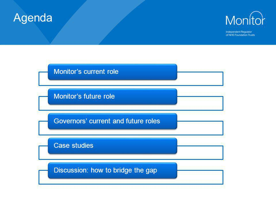 Agenda Monitor's current role Monitor's future role